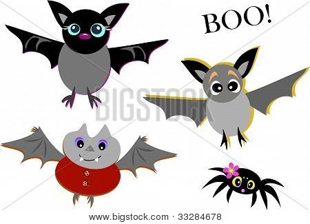 Mix of Cute Bats and Spider