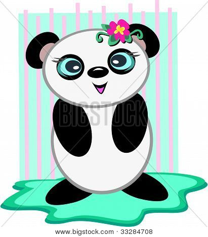 Panda Bear with a Flower