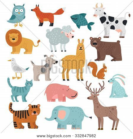 Cute Animals. Tiger, Owl And Bear, Elephant And Lion, Llama And Deer, Hare And Dog, Squirrel Wild An