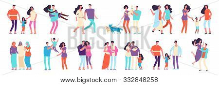 Different Families. Arab, Caucasian, Mixed Couples. Heterosexual And Homosexual Families With Kids A