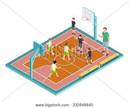 Basketball Training. Children Play Basketball Vector Illustration. Isometric Sport Court, Kids With