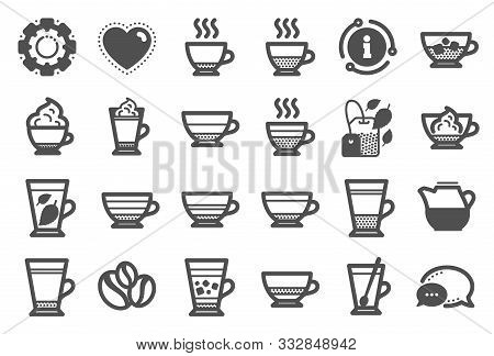 Coffee Types And Tea Icons. Set Of Latte, Frappe And Cappuccino Icons. Espresso, Doppio And Cafe Cre