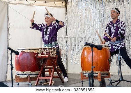 Melbourne, Australia - October 6, 2019: Two Japanese Taiko Drummers Performing Live At Street Festiv