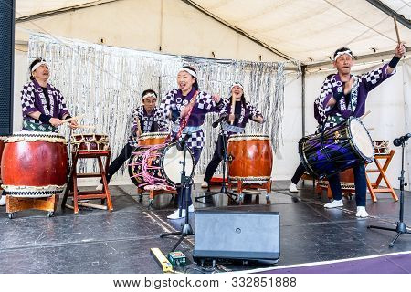 Melbourne, Australia - October 6, 2019: Group Of Japanese Drummers Performing Live