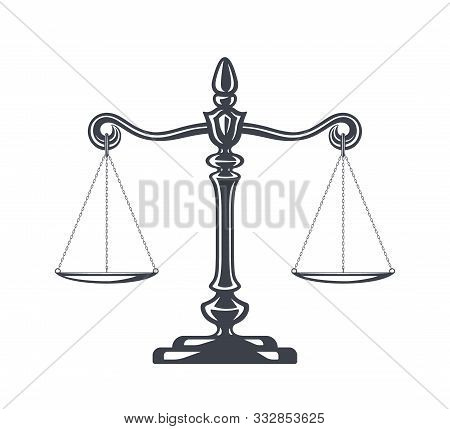 Scales Of Justice Vector Illustration. Weight Scales, Balance. Concept Law And Justice. Legal Center
