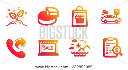 Share Call, Parking Security And Sea Mountains Line Icons Set. Sale, Startup Concept And Holidays Sh