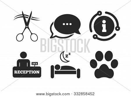 With Pets Allowed In Room Signs. Chat, Info Sign. Hotel Services Icons. Hairdresser Or Barbershop Sy