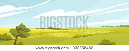 Fields Panorama Flat Vector Illustration. Beautiful Countryside Scenery, Picturesque Rural Landscape