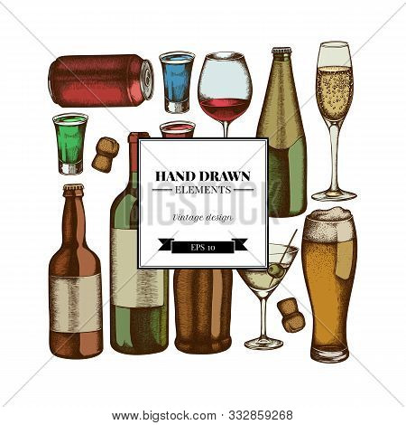 Square Design With Colored Glass, Champagne, Mug Of Beer, Alcohol Shot, Bottles Of Beer, Bottle Of W