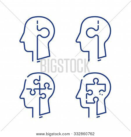 Human Head Profile And Jigsaw Puzzle, Cognitive Psychology Or Psychotherapy Concept, Mental Health,