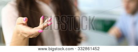 Focus On Tender Businesswoman Reaching Hand To Perform Handshake With Friendly Company Director. Bus
