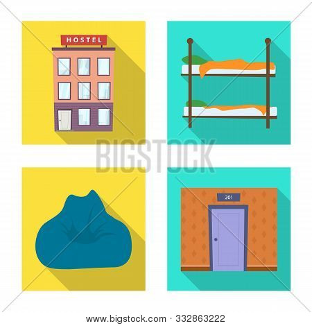 Vector illustration of tourism and motel logo. Collection of tourism and accommodation vector icon for stock. poster
