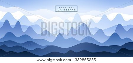 Abstract Blue Mountains Silhouette In The Fog. Vector Illustration. Guilin Rocks In China National P