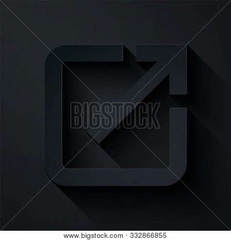 Paper Cut Open In New Window Icon Isolated On Black Background. Open Another Tab Button Sign. Browse
