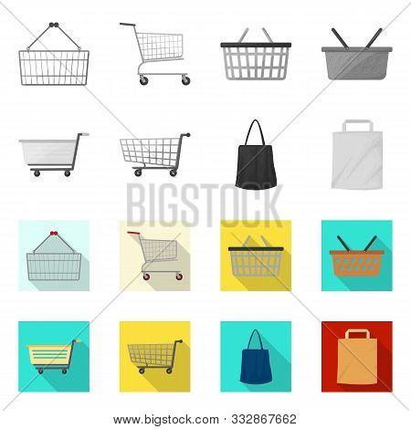 Vector Illustration Of Pushcart And Cart Logo. Collection Of Pushcart And Market Stock Vector Illust
