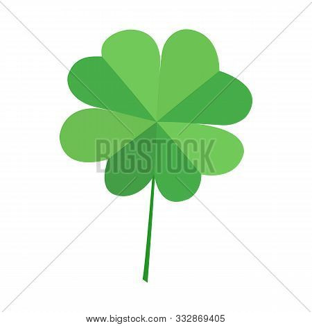 Green Quatrefoil Clover Leaf, Isolated On White Background. Vector Decorative Simvol Lucky Leaf Clov