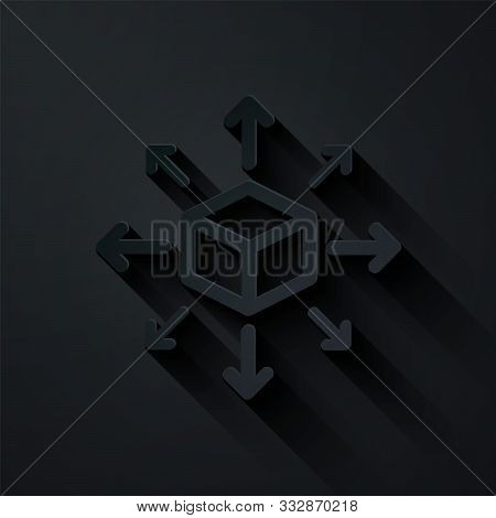 Paper Cut Distribution Icon Isolated On Black Background. Content Distribution Concept. Paper Art St