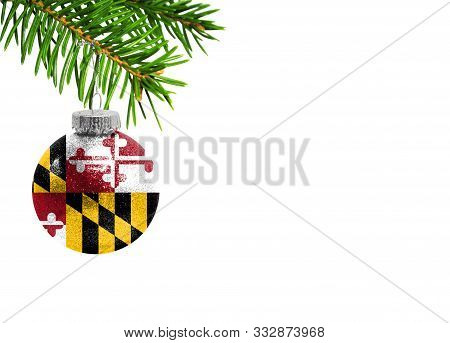 Glass Christmas Ball Toy Isolated On White Background With The Flag State Of Maryland