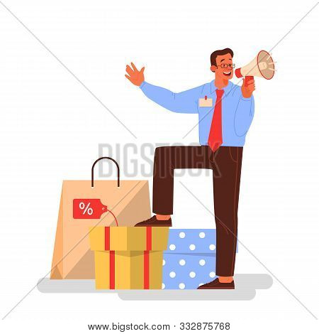 Vector Illustration For Black Friday. People Running Fast For Sale.