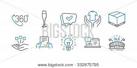 Set Of Business Icons, Such As Online Documentation, Champagne Glass, Hold T-shirt, Delivery Box, Id
