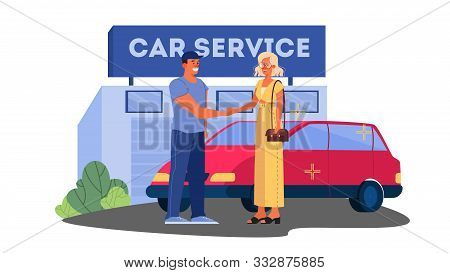 Vector Illustrations Of Happy Female Driver Thank Car Service