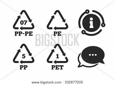 High-density Polyethylene Terephthalate Sign. Chat, Info Sign. Pet 1, Pp-pe 07, Pp 5 And Pe Icons. R