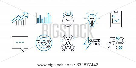 Set Of Education Icons, Such As Demand Curve, Blog, Quickstart Guide, Bar Diagram, Targeting, Scisso