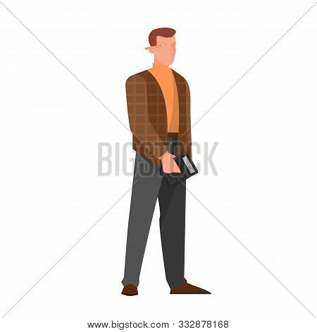 Vector Illustration Of A Accountant Office Manager. Man In Suit