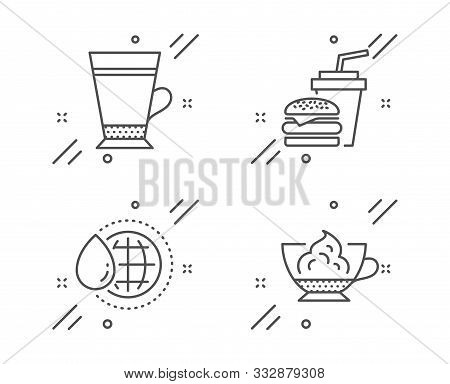 Latte, Hamburger And World Water Line Icons Set. Espresso Cream Sign. Coffee Beverage, Burger With D