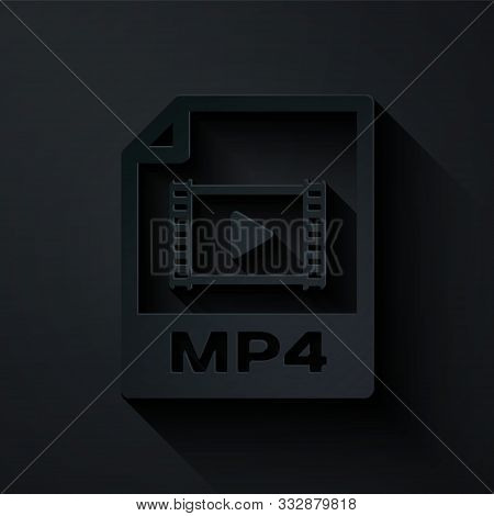 Paper Cut Mp4 File Document. Download Mp4 Button Icon Isolated On Black Background. Mp4 File Symbol.