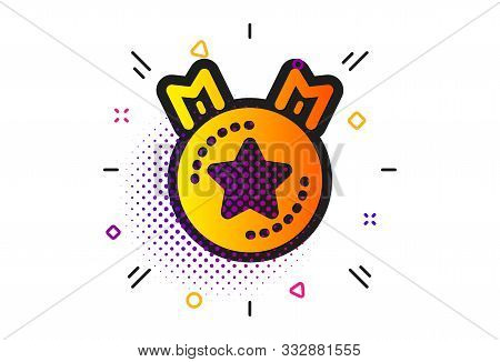 Winner Medal Sign. Halftone Circles Pattern. Ranking Star Icon. Best Rank Symbol. Classic Flat Ranki