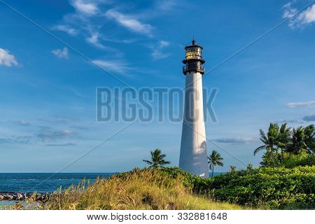 Beach Florida Lighthouse. Cape Florida Lighthouse, Key Biscayne, Miami, Florida, Usa