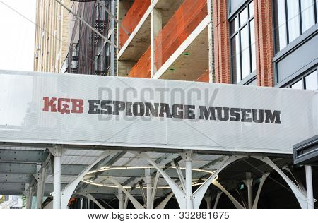 NEW YORK, NY - 05 NOV 2019: Closeup of the sign above the KGB Espionage Museum, on 14th Street, presents the largest collection of items covering the activities of KGB agents.