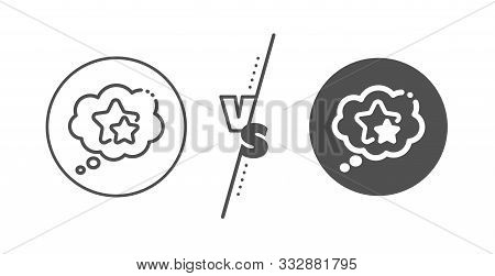 Star Rating Sign. Versus Concept. Ranking Stars Speech Bubble Line Icon. Best Rank Symbol. Line Vs C