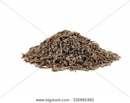 Pile Of Cumin Seeds Isolated On White Background With Copy Space For Text Or Images. Spices And Herb