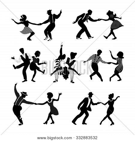 Rock N Roll And Jazz Dancing Couples Set. Swing Dancing Silhouettes. People In 1940s And 1950s Style