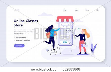 Online Shopping, E-commerce, Female And Male Customer Choosing Forniture.