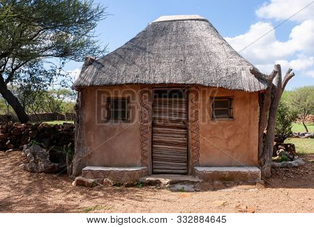 Botswana, traditional african house, Setswana culture, build in a village near Kalahari