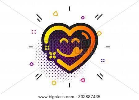 Emoticon With Tongue Sign. Halftone Circles Pattern. Yummy Smile Icon. Comic Heart Symbol. Classic F