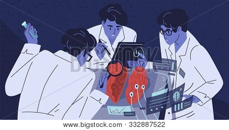 Human Brain Research Flat Vector Illustration. Group Of Scientists Studying Body. Doctors In White C