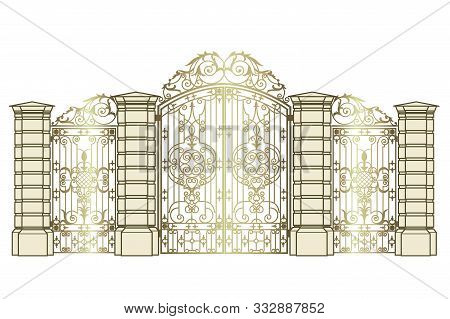 Golden Forged Gate And Wickets On A White Background