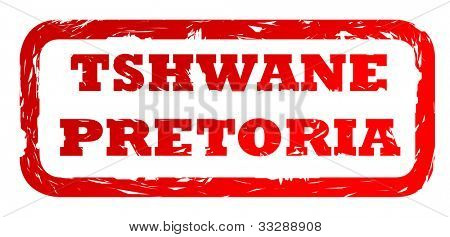 Used red Tshwane Pretoria city travel passport stamp, isolated on white background.