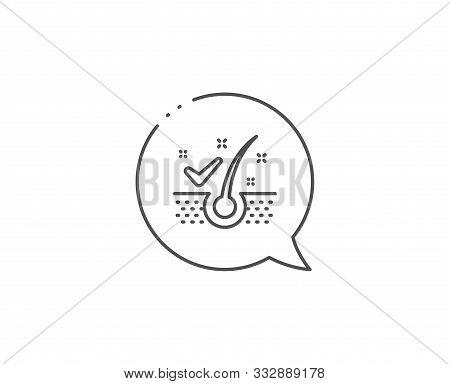 Anti-dandruff Flakes Line Icon. Chat Bubble Design. Dandruff Shampoo Sign. Clean Hair Symbol. Outlin