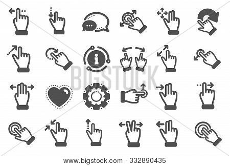 Touchscreen Gesture Icons. Hand Swipe, Slide Gesture, Multitasking Icons. Touchscreen Technology, Ta