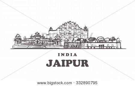 Jaipur Sketch Skyline. Jaipur, India Hand Drawn Vector Illustration.