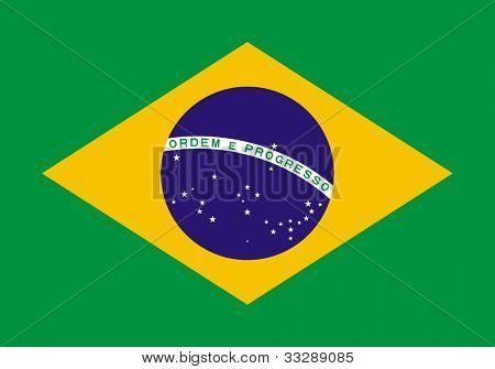 Suverän stat flagga land Brasilien i officiella färger.