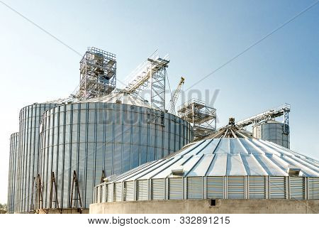 Grain Drying Complex, Storage And Transportation Of Grain. Large Granary In The Field. Agricultural