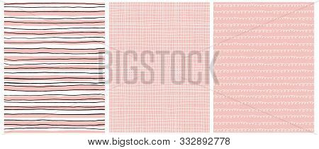 Cute Baby Shower Seamless Vector Patterns.white And Black Strips On A Light Pink Background.white Ti