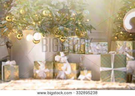 Image Of Luxury New Year Gifts, Different Present Boxes Under Christmas Tree In Holiday Eve. Home De