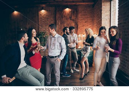 Photo Of Crowd Of Working People Engaged In Business Having Corporate Party With Fun And Alcohol Wea
